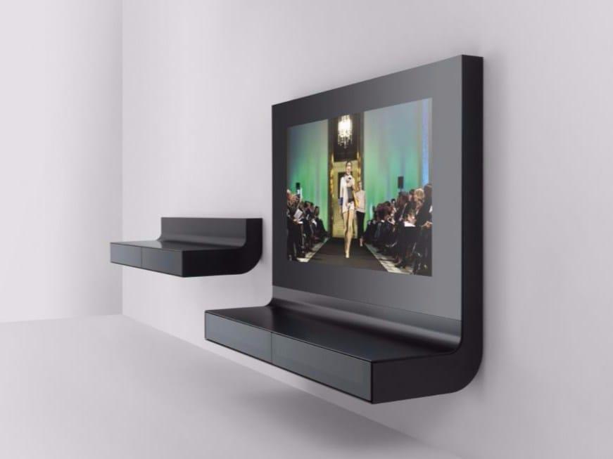 Mobile tv sospeso in alluminio e vetro collezione lle by for Mobile tv sospeso