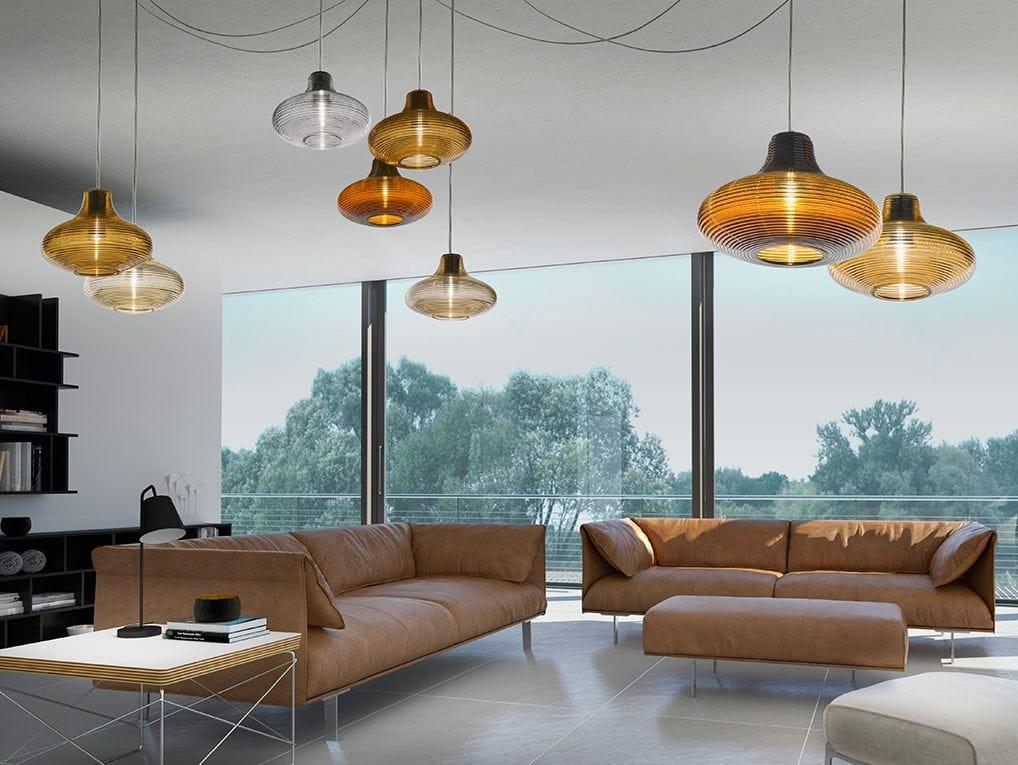 suspension led en verre souffl emma by panzeri design silvia poma. Black Bedroom Furniture Sets. Home Design Ideas