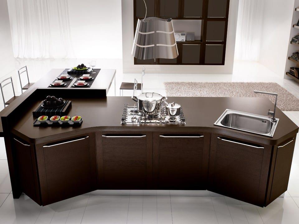 Ergonomische Küche aus Holz mit Griffe Kollektion Quadra by DIBIESSE