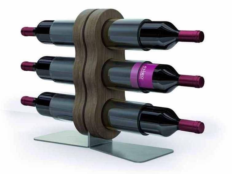 Portabottiglie in acciaio e legno esigo 11 by esigo - Portabottiglie acciaio ...