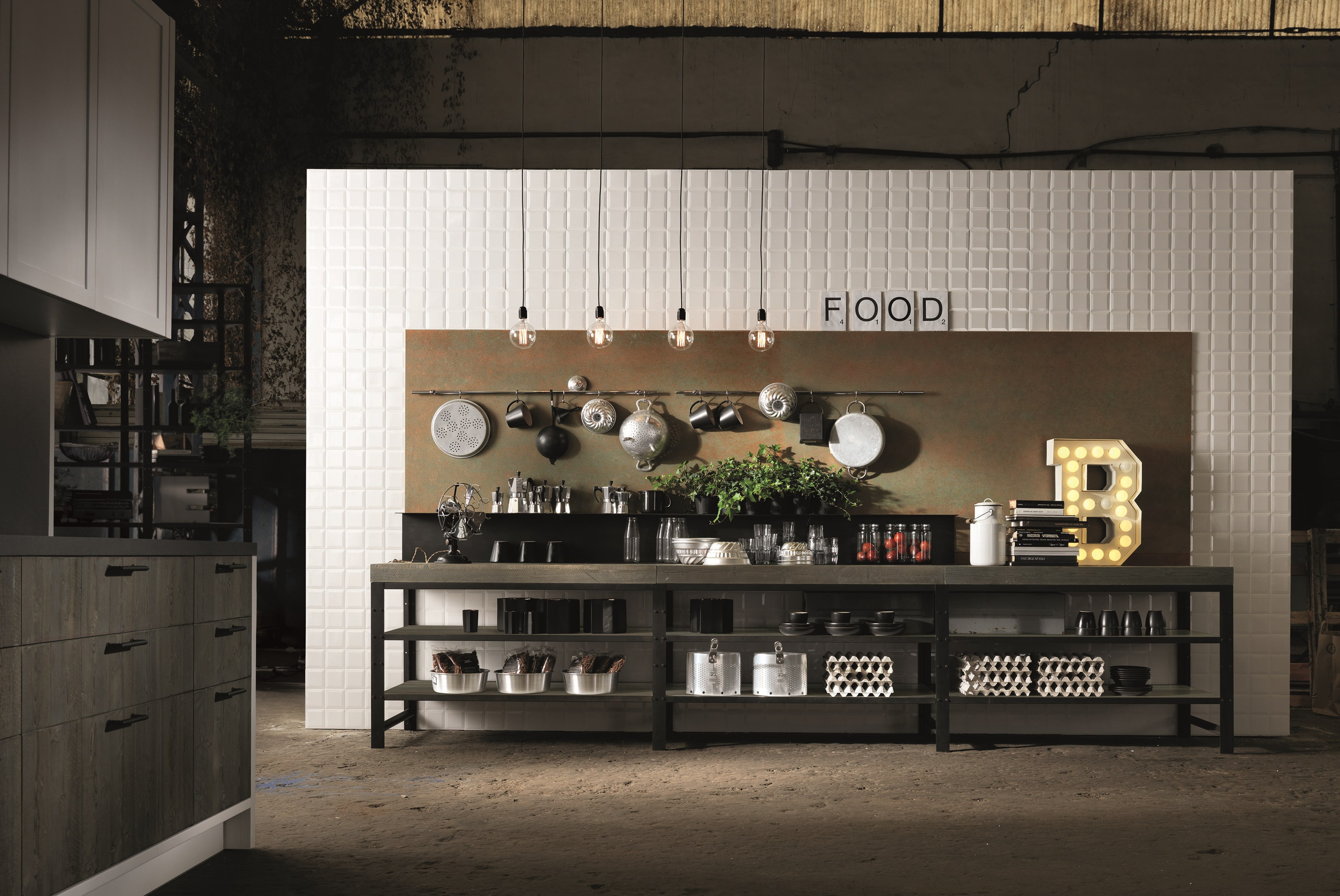Factory kitchen with island factory collection by aster for Cuisine contemporaine design