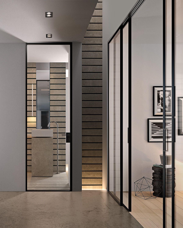 Porta a battente in alluminio e vetro g like collezione - Porte interne senza telaio ...