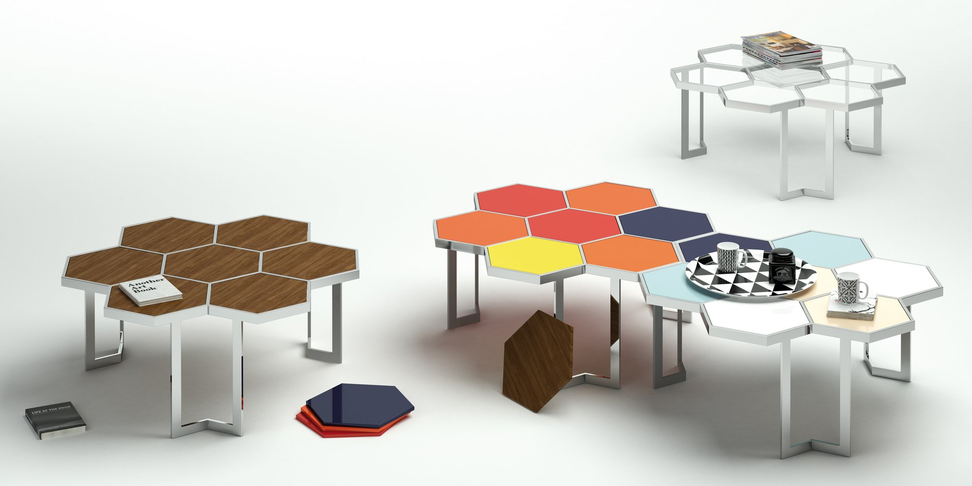 Honey glass and steel coffee table honey collection by - Fabricantes sofas yecla ...