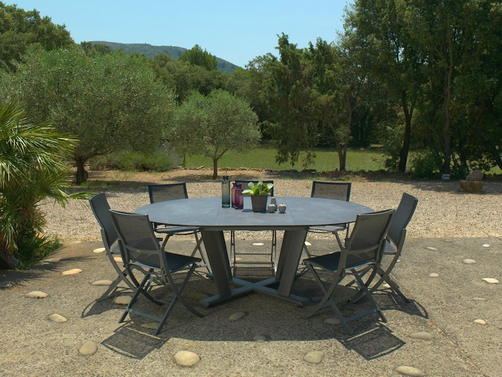Beautiful table de jardin extensible pied central pictures for Grande table extensible