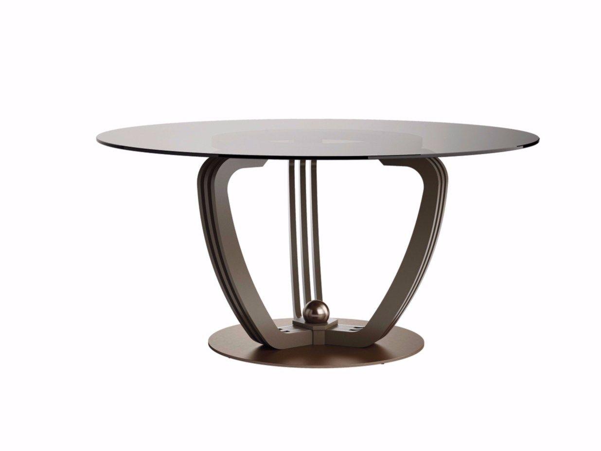 Tavolo rotondo in acciaio e cristallo helix collezione for Tavolo cristallo rotondo design