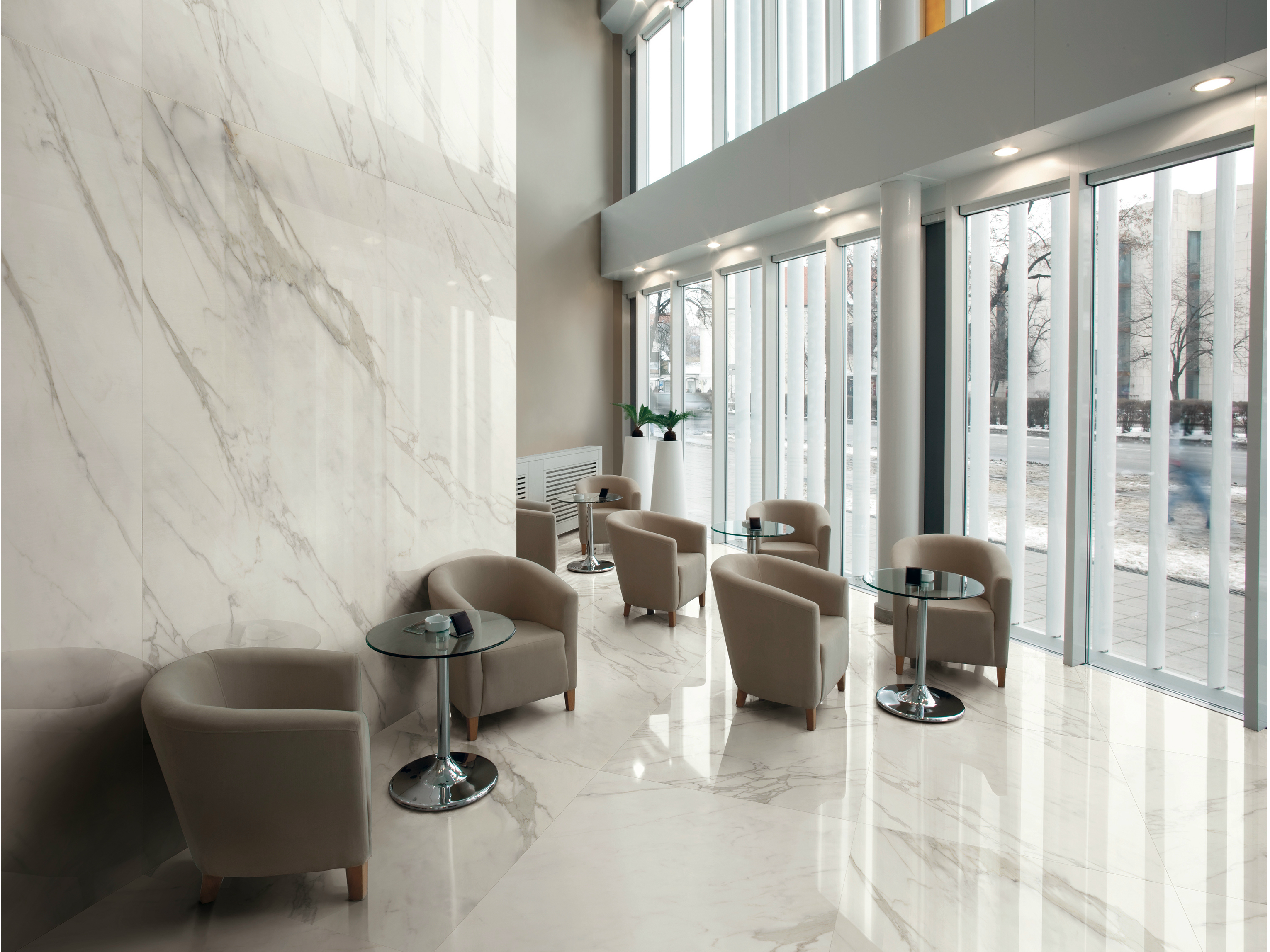 Pavimento rivestimento in gres porcellanato effetto marmo - D fabrica interiorismo ...