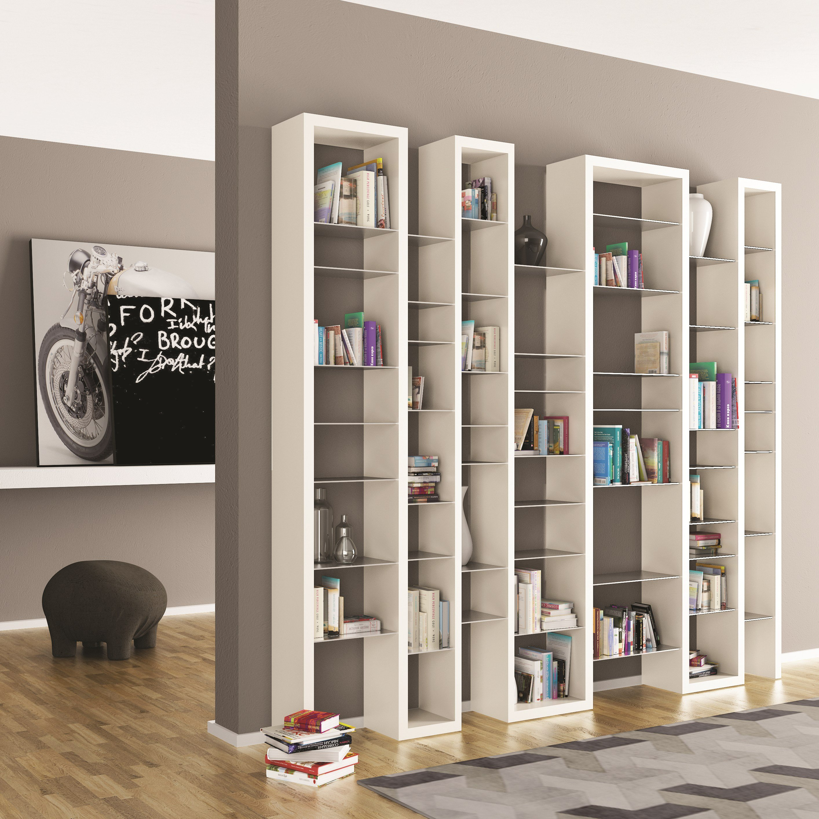Lacquered Modular MDF Bookcase ICE MIX By ARKOF LABODESIGN