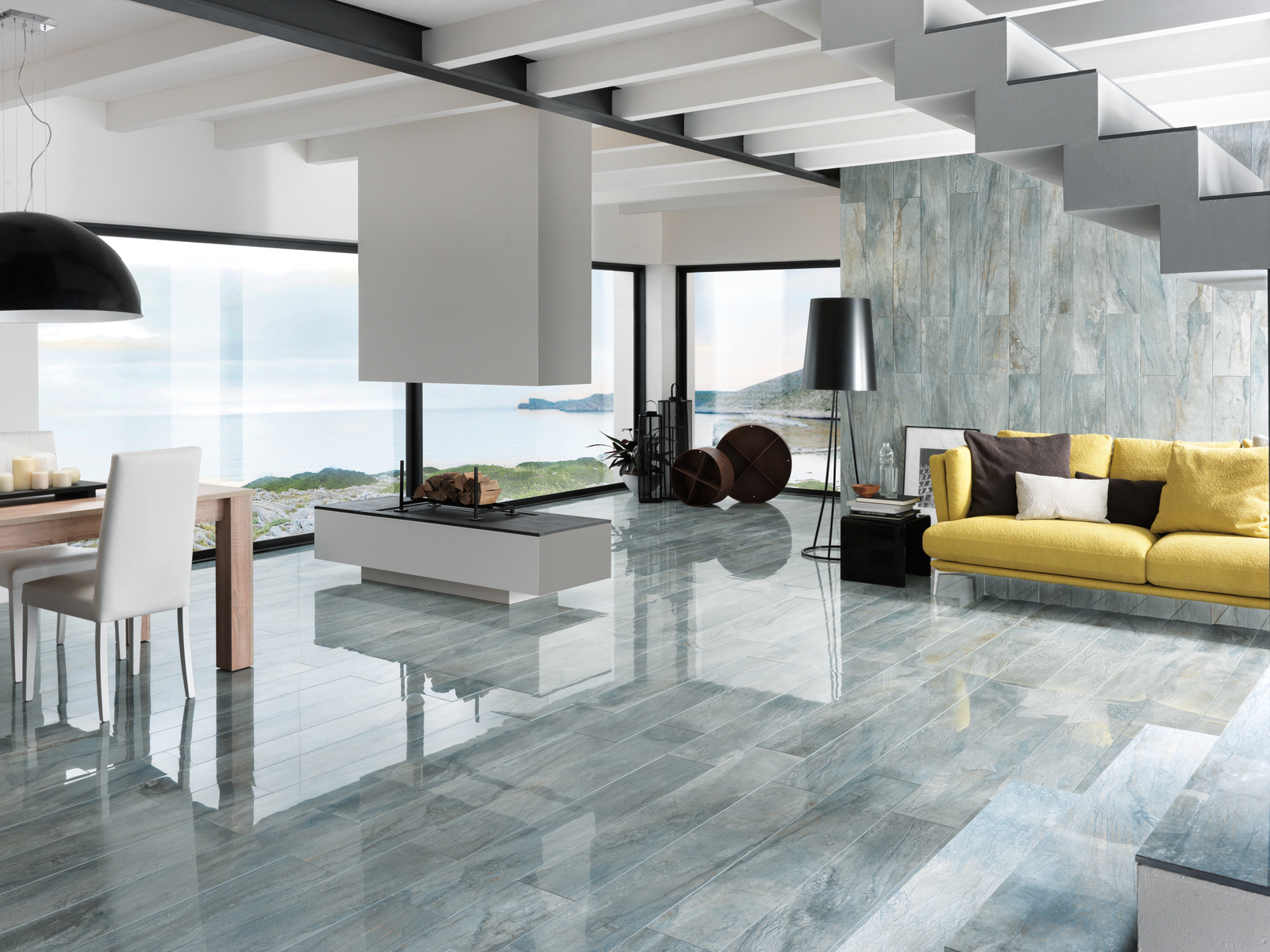 Porcelain stoneware wall/floor tiles with marble effect with metal ...