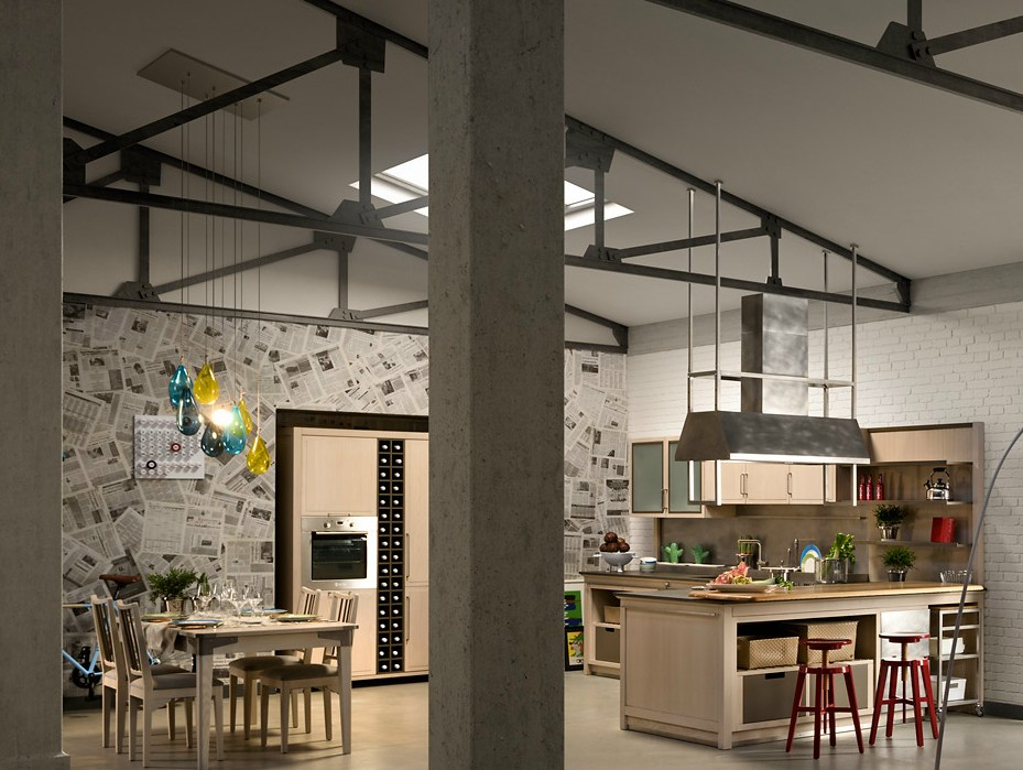 Cucina in frassino con isola INDUSTRIAL CHIC SAHARA by L ...