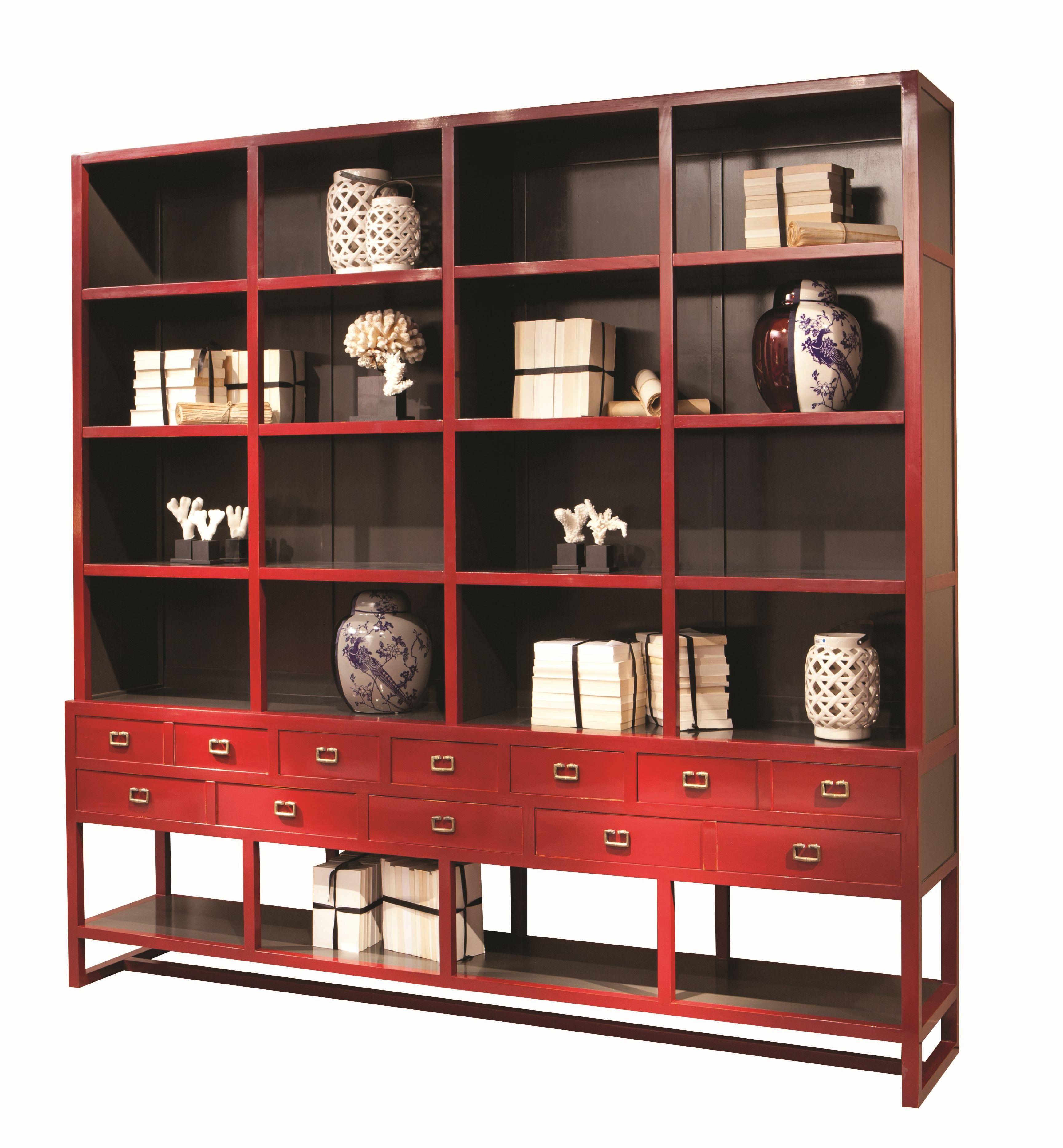 Libreria a giorno in legno con cassetti jules collezione for Libreria roche bobois