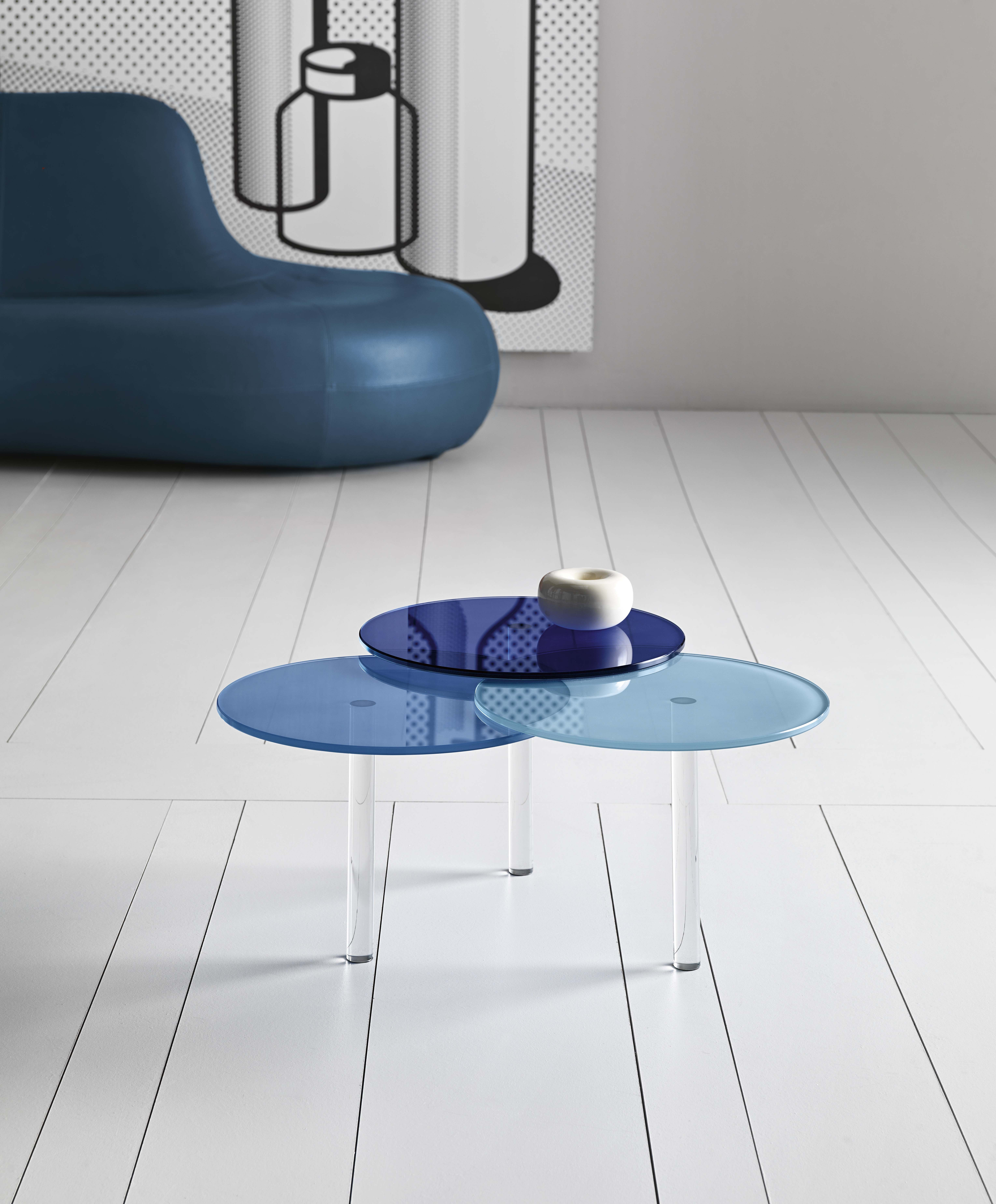 Glass Coffee Table / Bedside Table LENSES By T.D. Tonelli