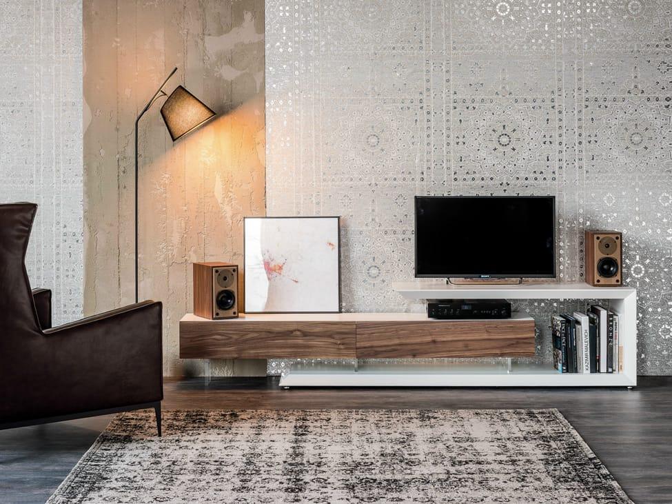 Mueble TV bajo en nogal LINK by Cattelan Italia diseño Paolo Cattelan