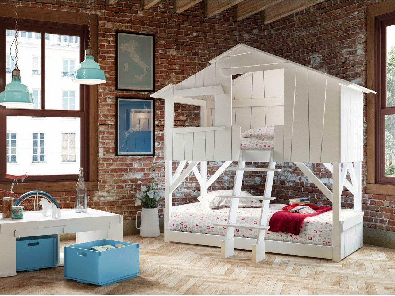 lits cabanes bunk bed by mathy by bols design fran ois lamazerolles. Black Bedroom Furniture Sets. Home Design Ideas