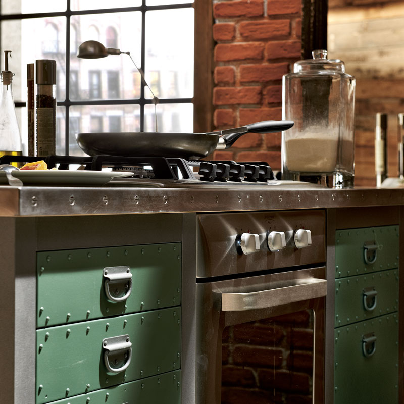 Cucina componibile in acciaio inox con isola loft - Cucine in acciaio inox ...
