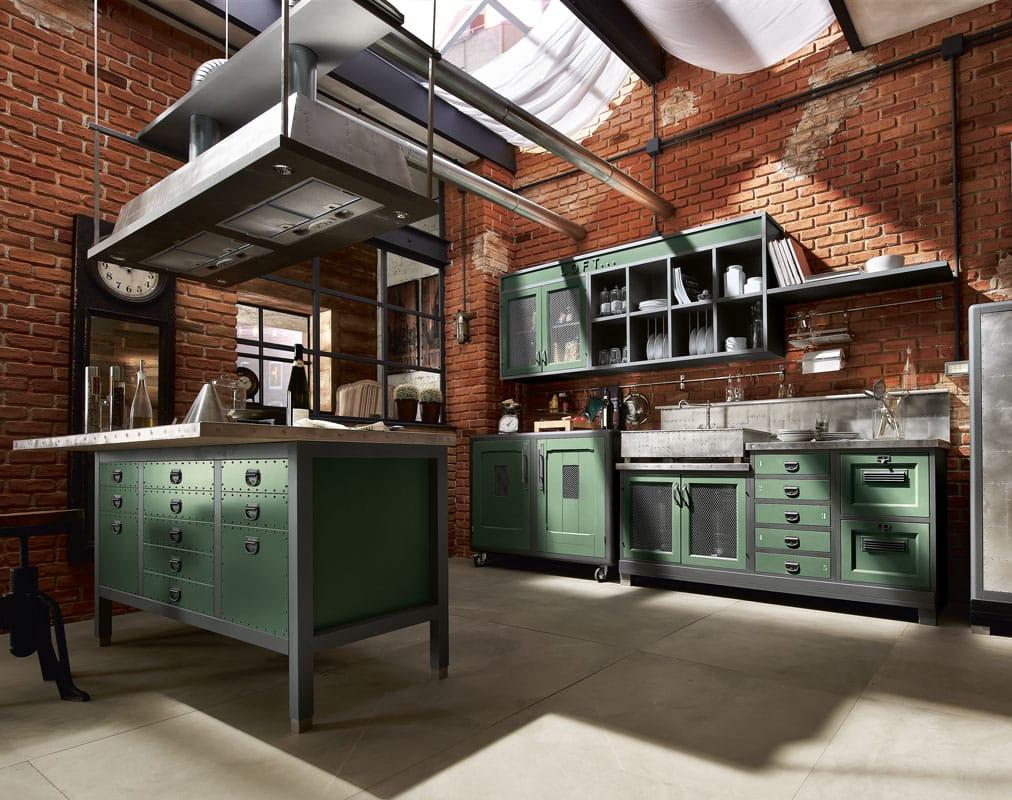 Cucina componibile in acciaio inox con isola LOFT ...