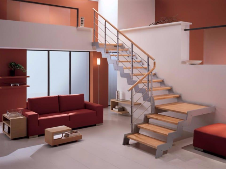Escalera abierta en forma de L autoportante de haya LOFT Colección ...