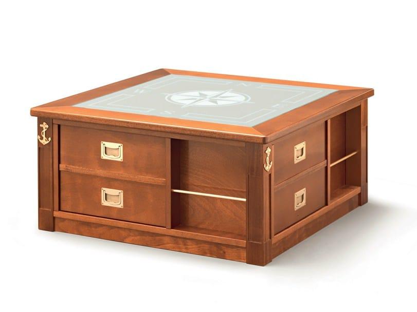 LOUNGE CLOCKCoffee table with integrated magazine rack By Caroti