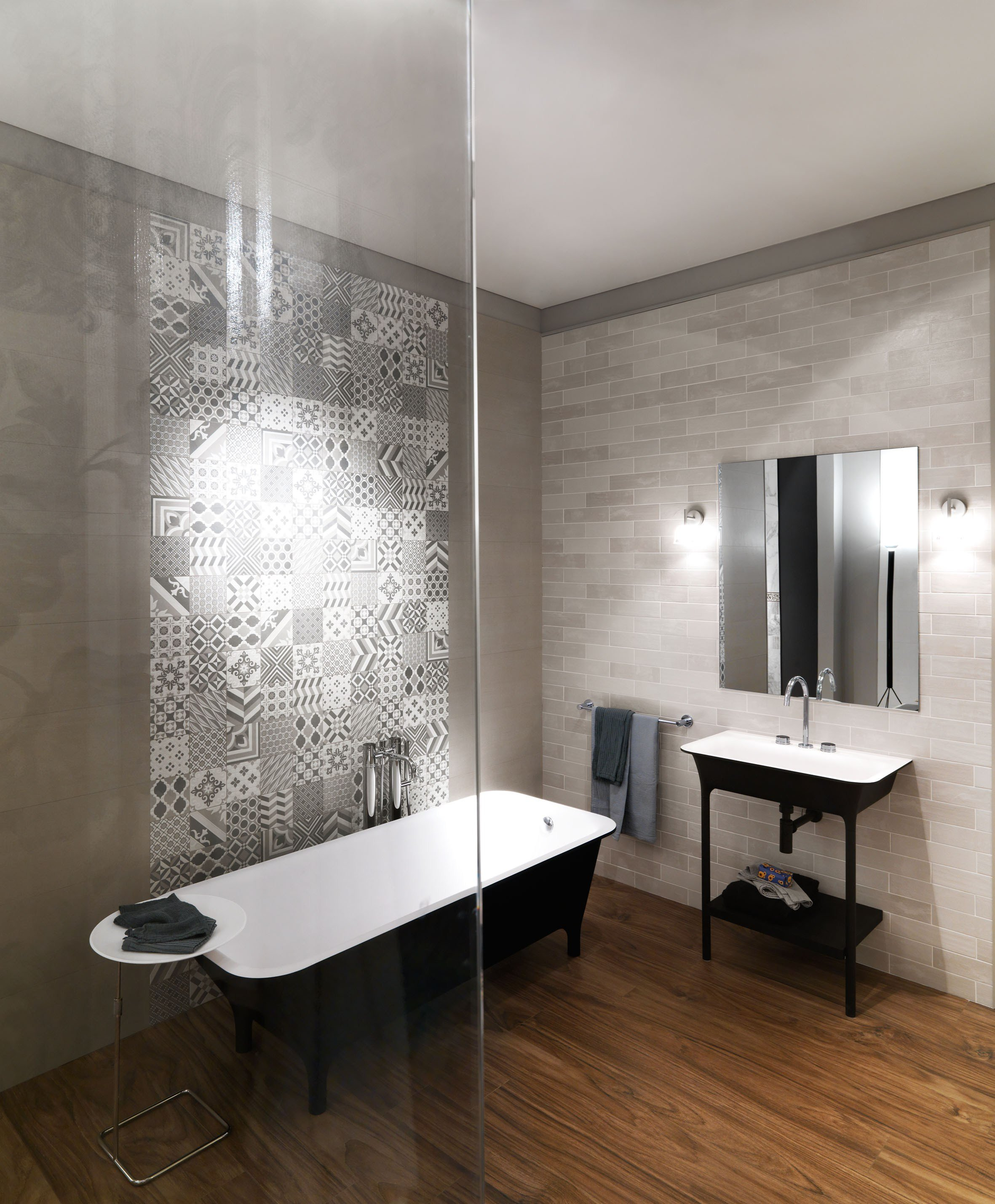 Porcelain stoneware wall tiles with concrete effect - Sant agostino ceramiche bagno ...