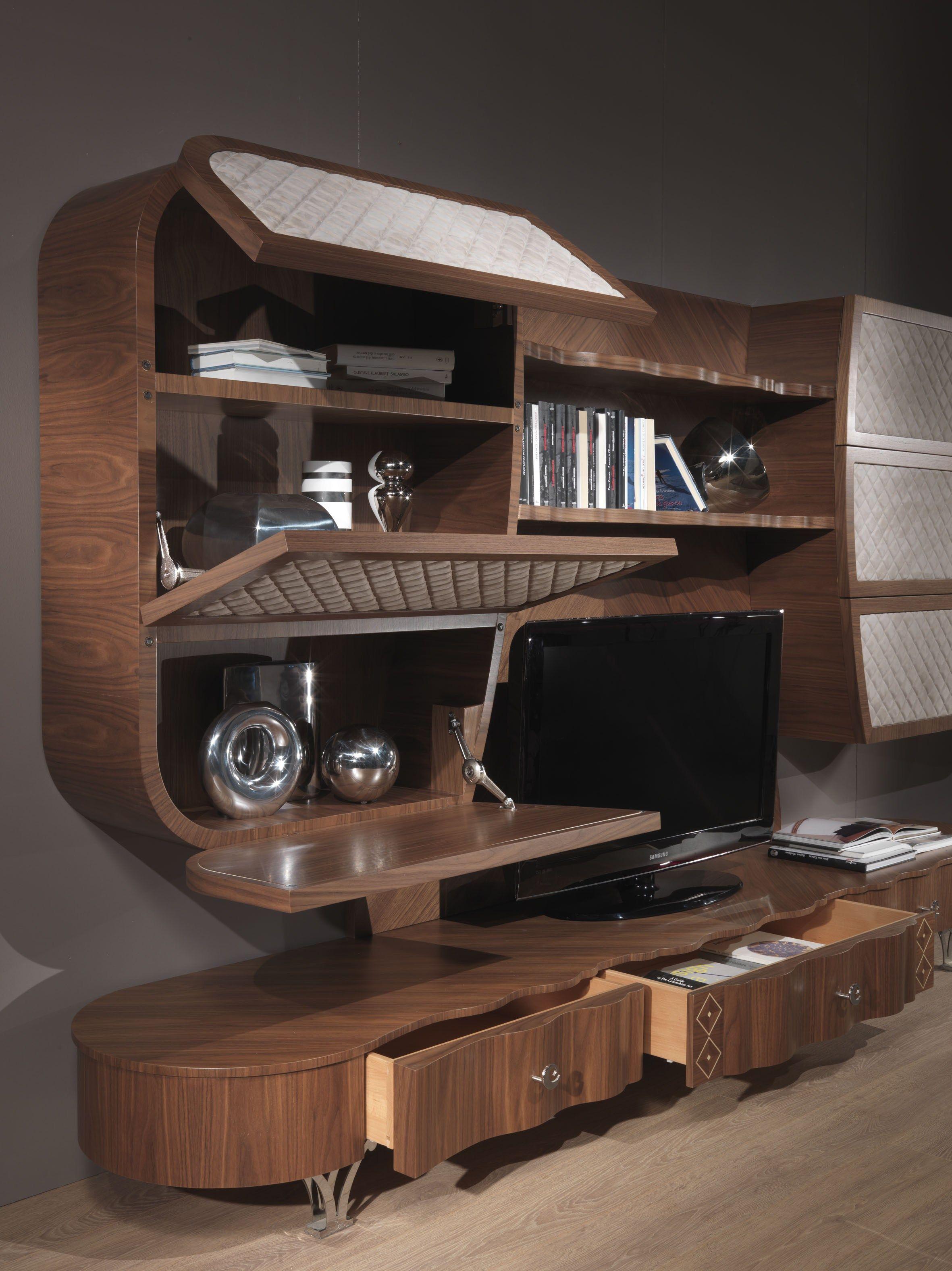 Mueble modular de pared de madera maciza con soporte para for Mueble soporte tv