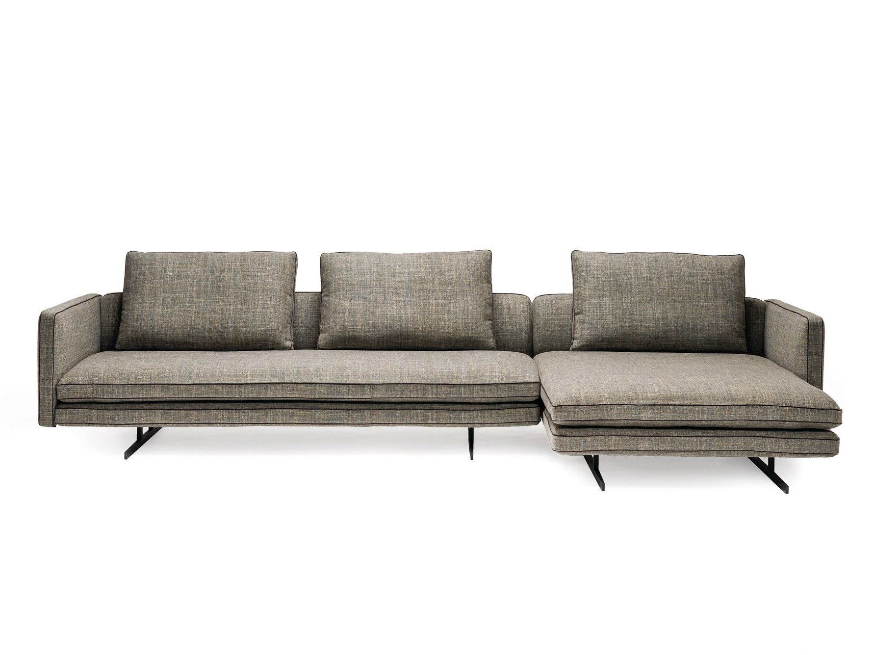 Fabric sofa with chaise longue moss by arketipo design for Sofas con chaise longue
