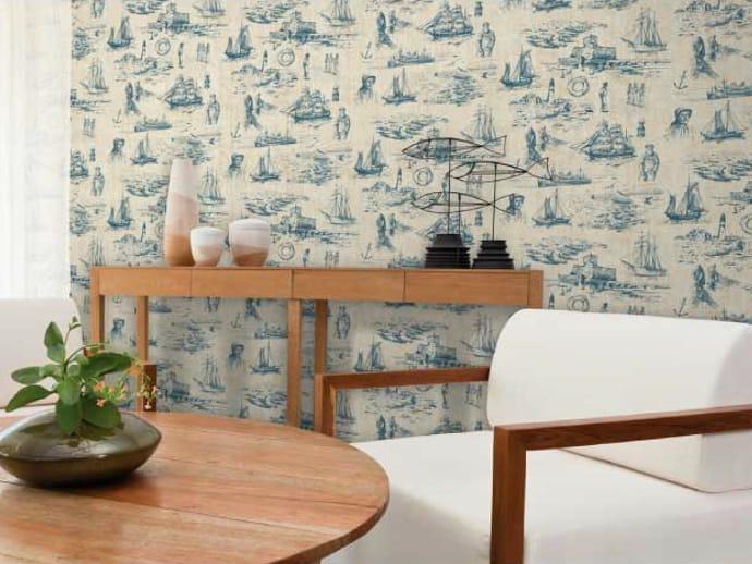 motiv- tapete aus papier-vliesstoff nautic kollektion ambiance lin, Gartenarbeit ideen