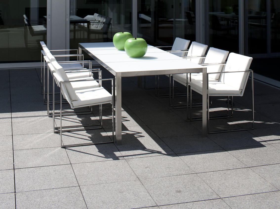 Table de jardin de jardin rectangulaire en acier inoxydable de style contempo - Table de jardin contemporaine ...