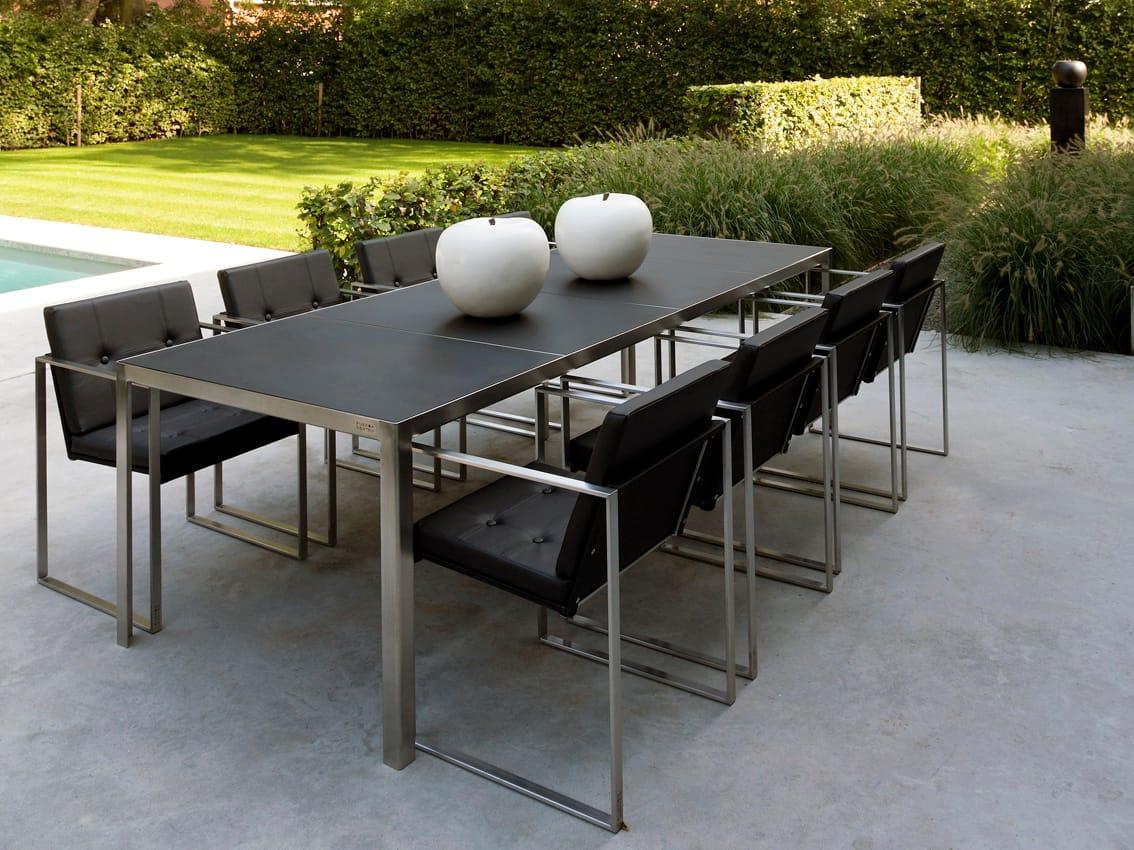 Tavolo Da Giardino Da Giardino Rettangolare In Acciaio