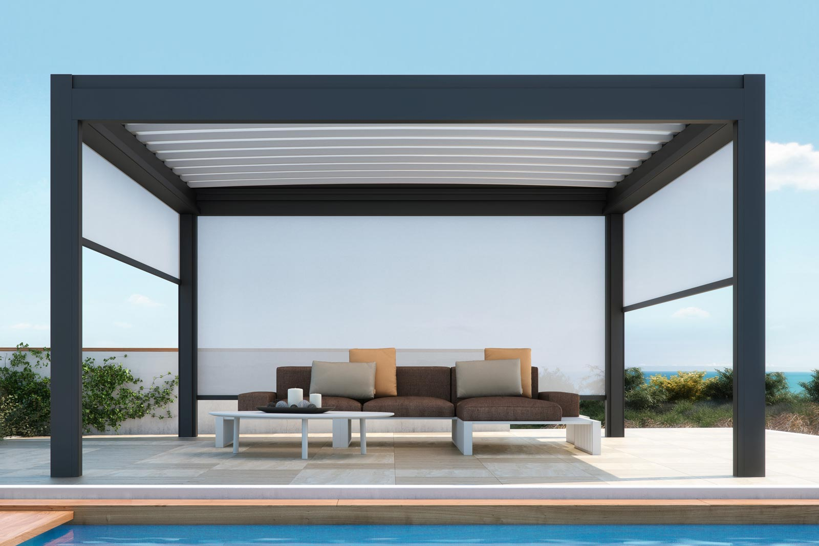 Freestanding aluminium pergola nomo pergolas collection by pratic orioli - Pergola en kit aluminium ...