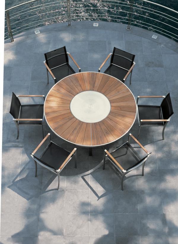 Table de jardin ronde lazy susan en teck collection o zon for Table exterieur inox