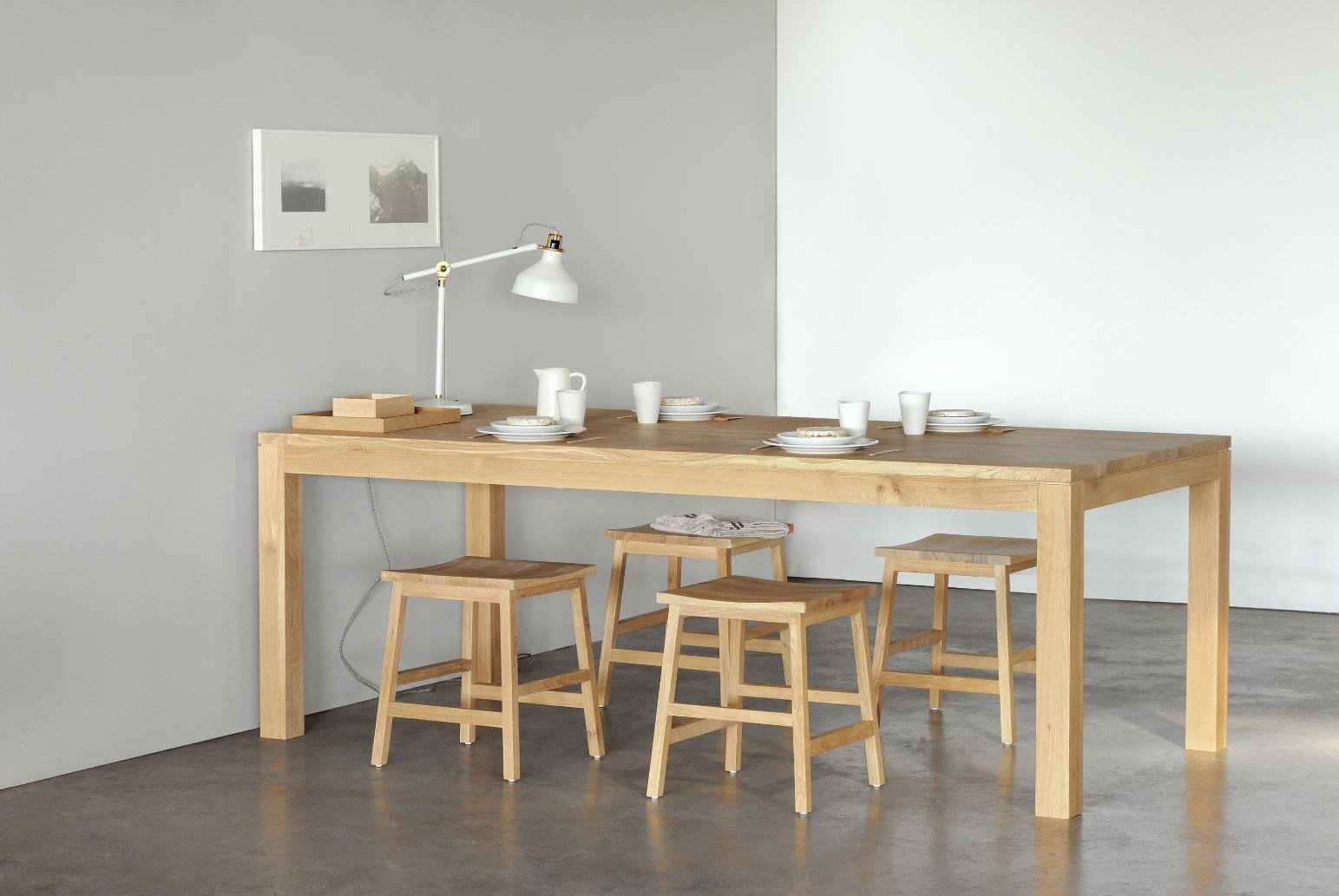 Oak straight table by ethnicraft for 1 x 2 table