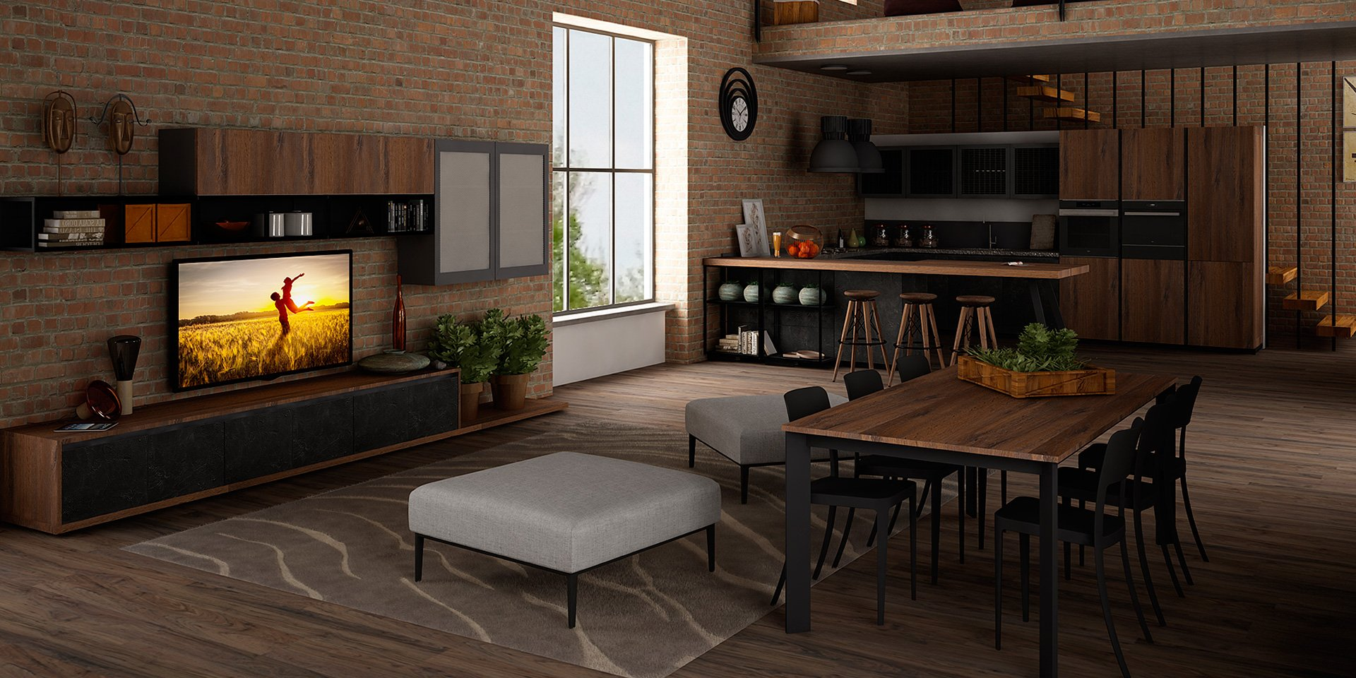 Wooden fitted kitchen oltre industrial by cucine lube - Cucina stile vintage ...