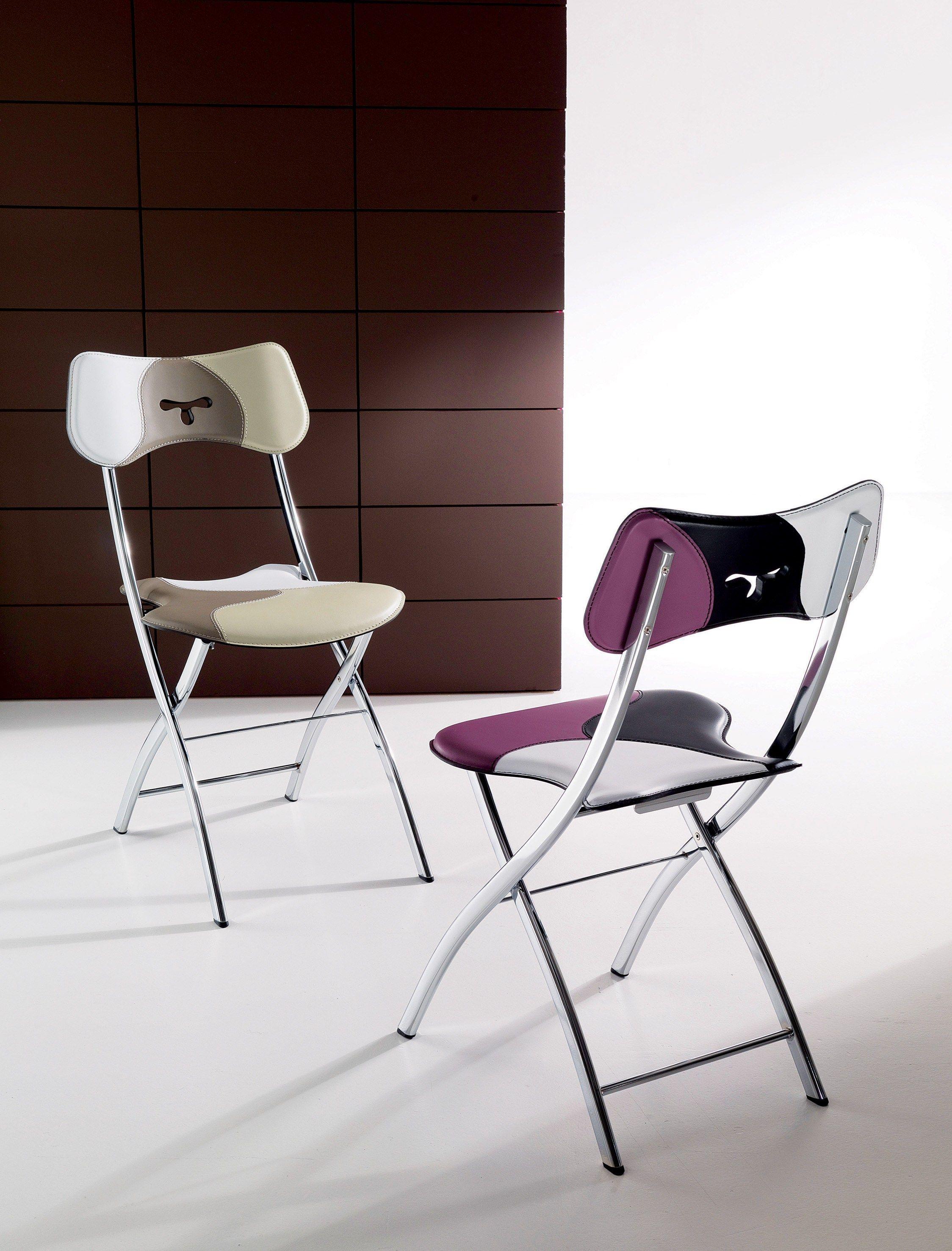 Opl sedia in cuoio by ozzio italia design gaetano - Sedia pieghevole imbottita ...
