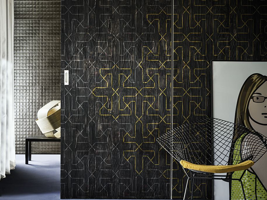 motif geometric wallpaper paper edge contemporary. Black Bedroom Furniture Sets. Home Design Ideas