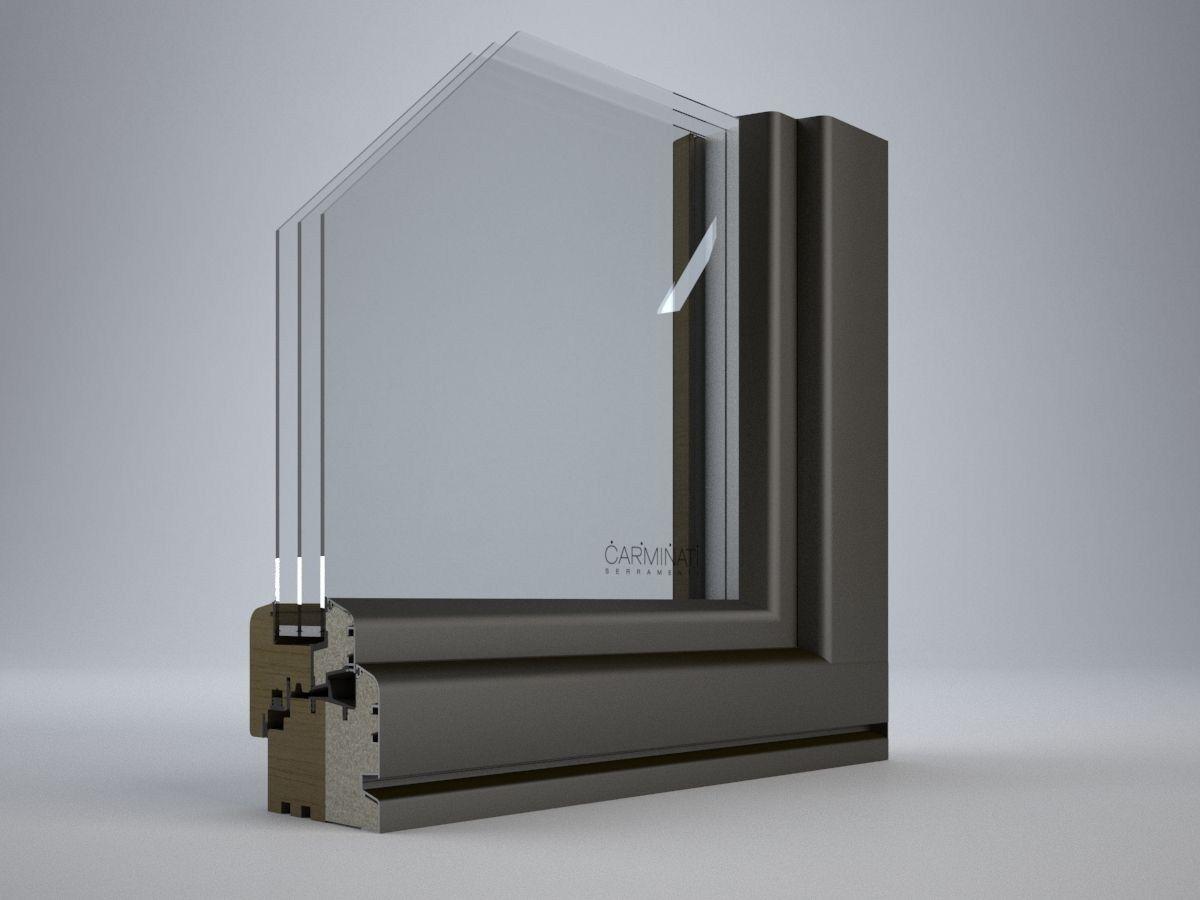Porte fen tre en aluminium et bois avec triple vitrage for Fenetre triple vitrage aluminium