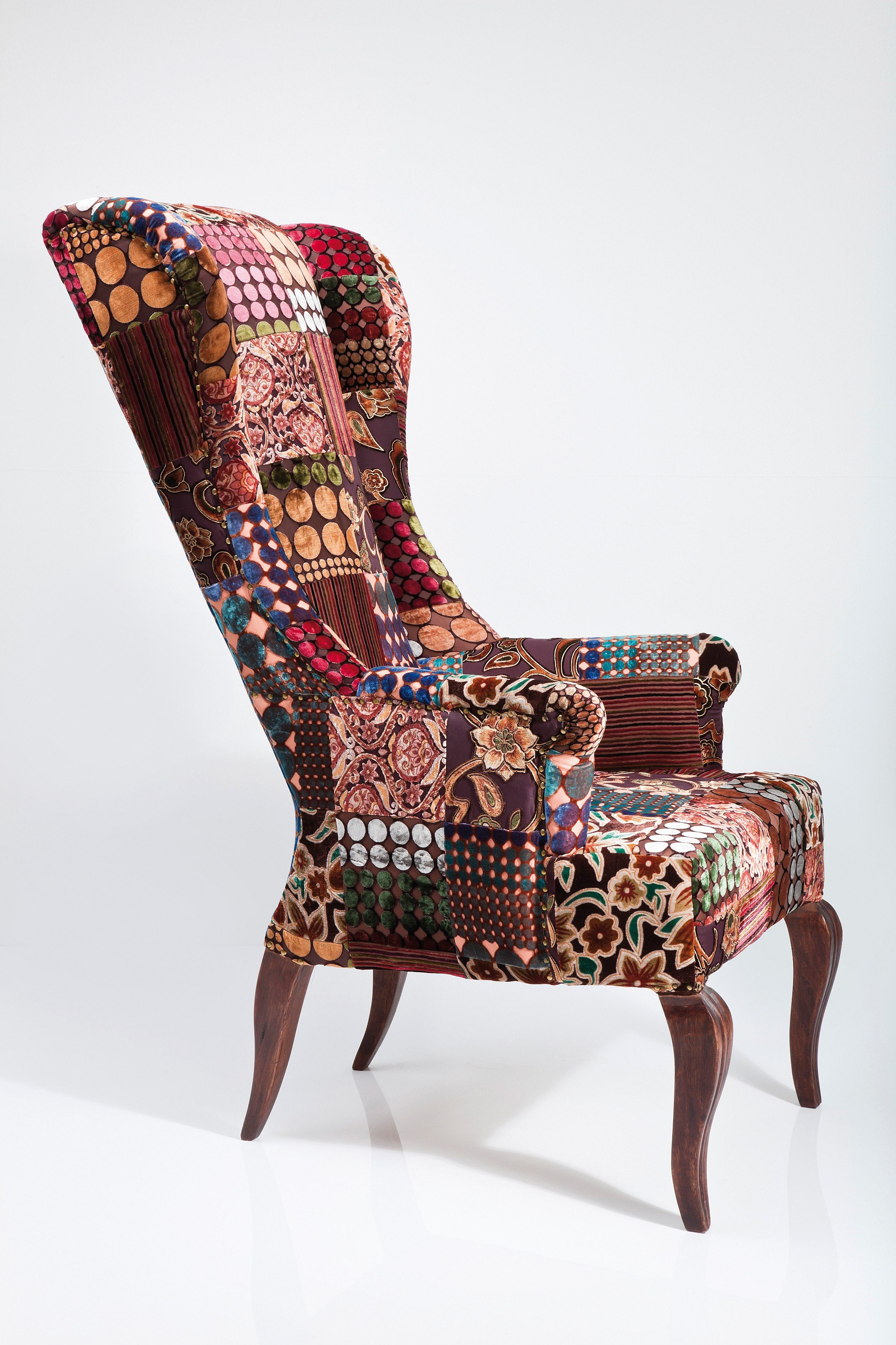 Upholstered High Back Fabric Armchair Patchwork Velvet By