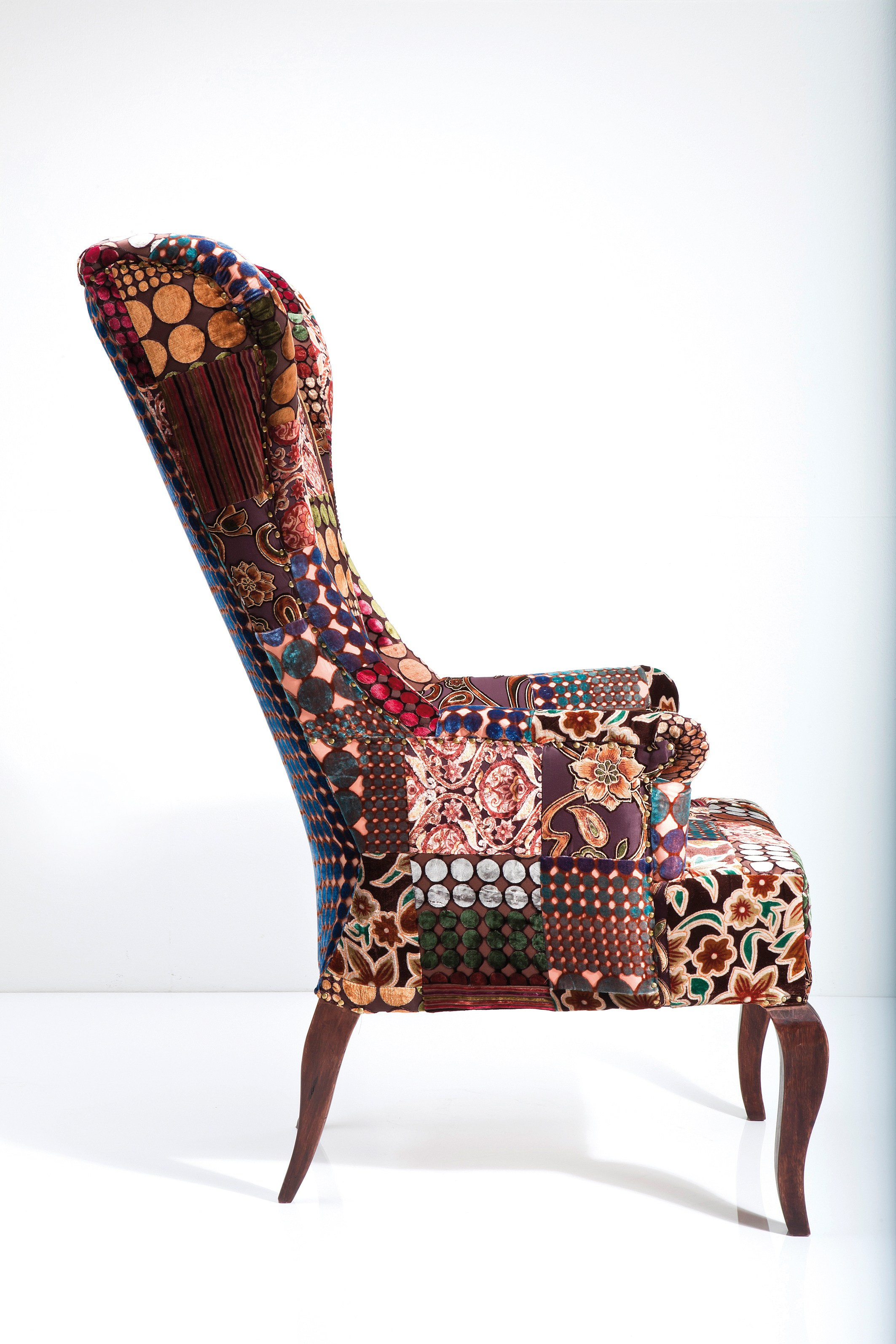 Upholstered high-back fabric armchair PATCHWORK VELVET by ...