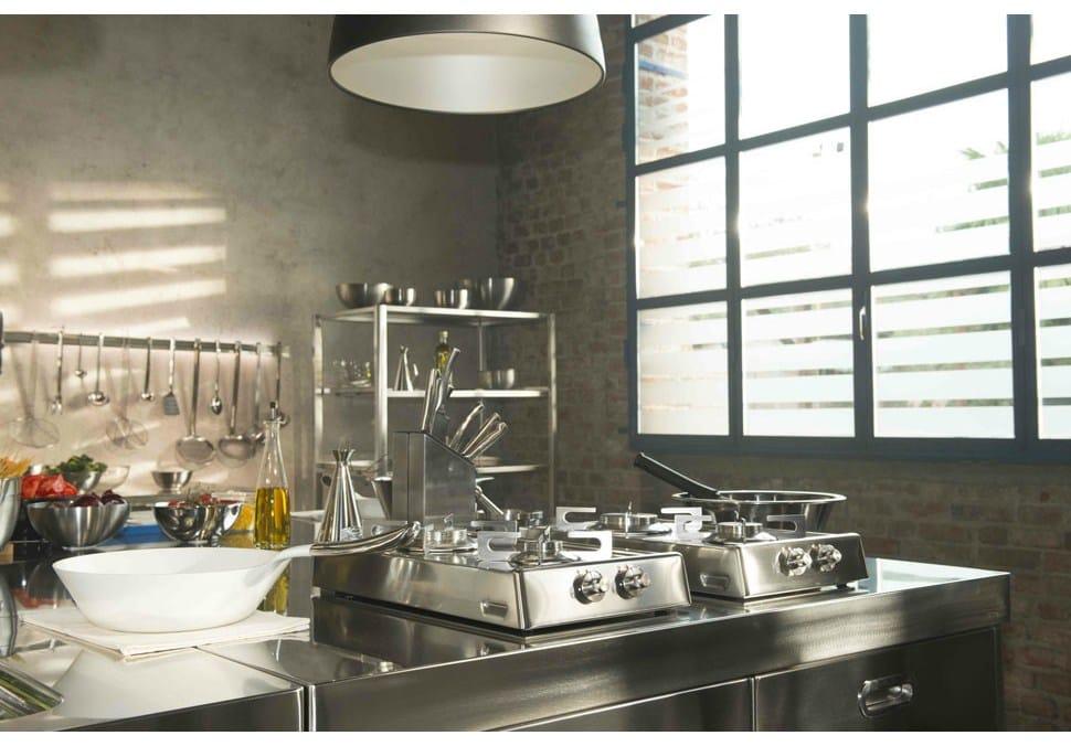 Piani cottura ribaltabili a 2 fuochi gas piano cottura in acciaio inox by alpes inox design - Piani cottura design ...