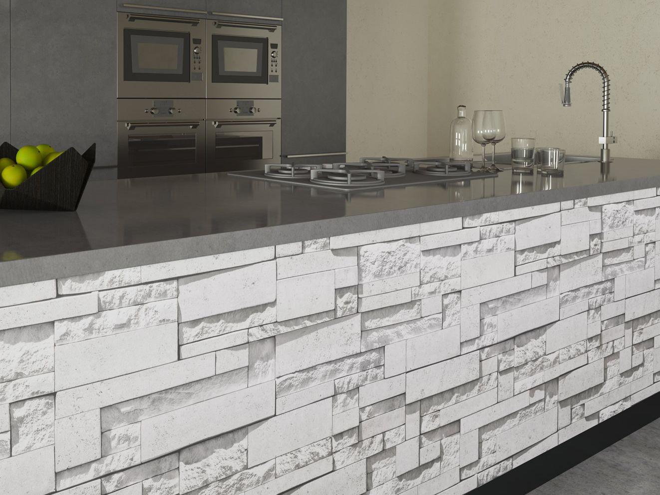 Rivestimento adesivo in pvc pietra modern bianca for Piastrelle adesive pvc per pareti
