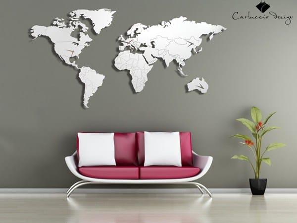 Orologio in acciaio inox da parete planisfero m by for Mappa mondo bianco e nero