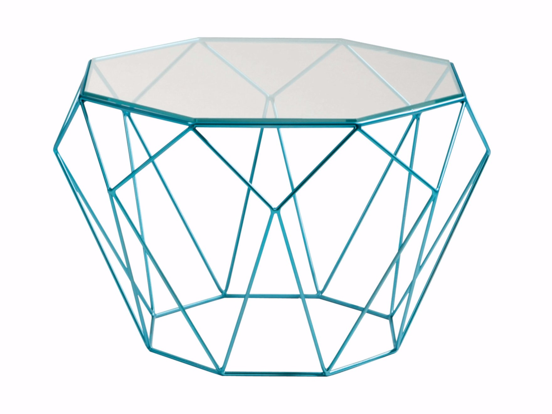 Octagonal Glass And Steel Coffee Table Precious By Roche