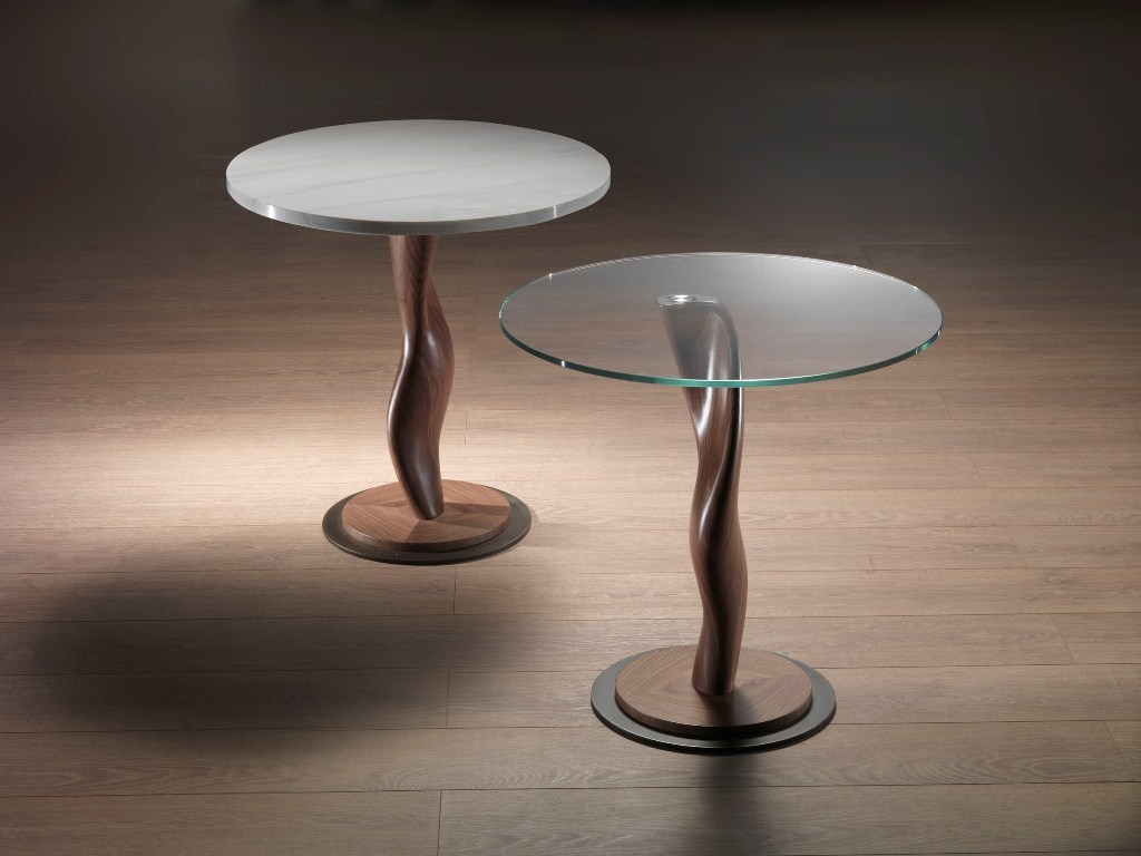 Round Wood And Glass Coffee Table Pistillo By Carpanelli Contemporary