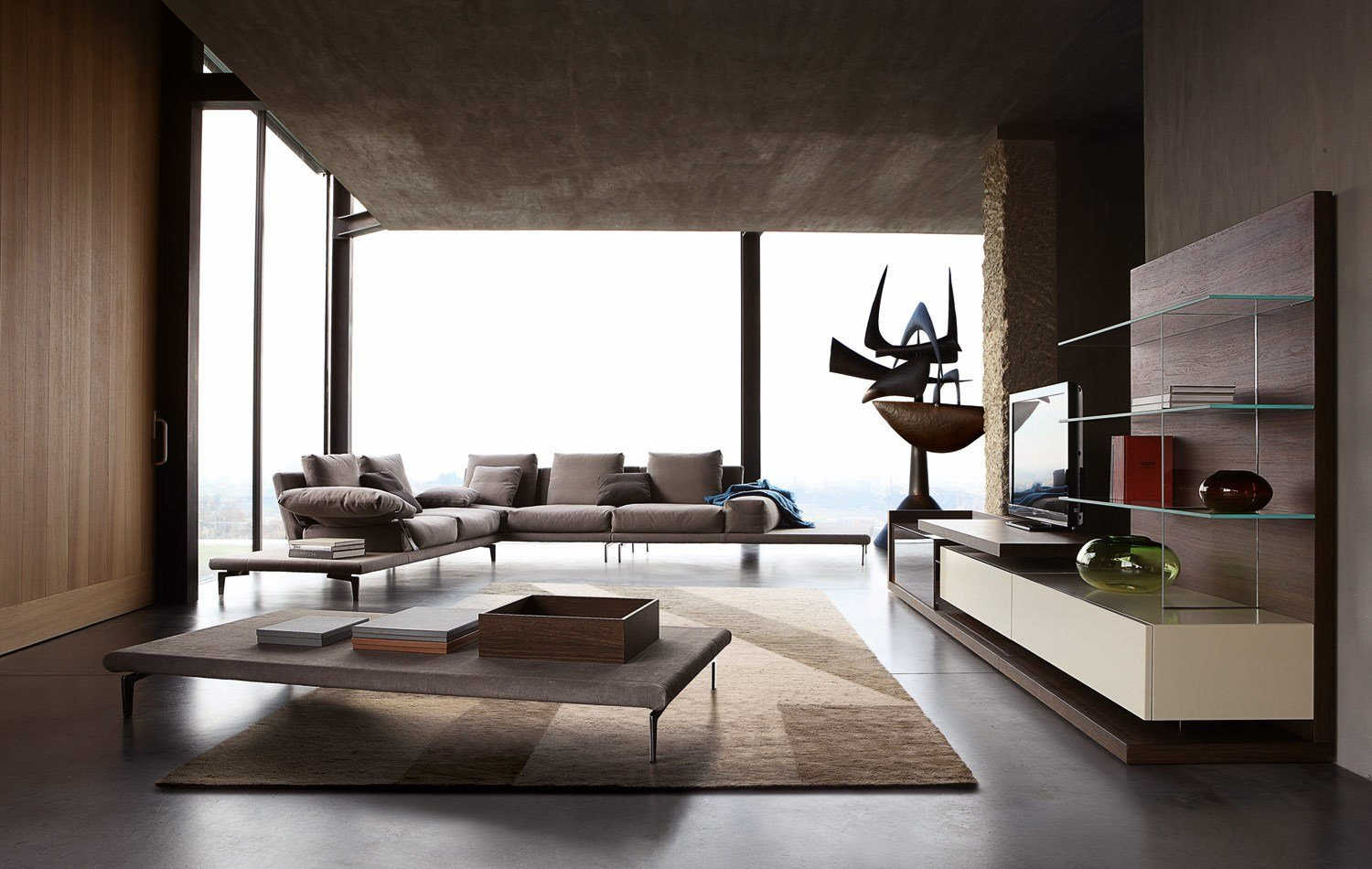 Sectional modular sofa echoes by roche bobois design mauro lipparini for Sofa contemporain design