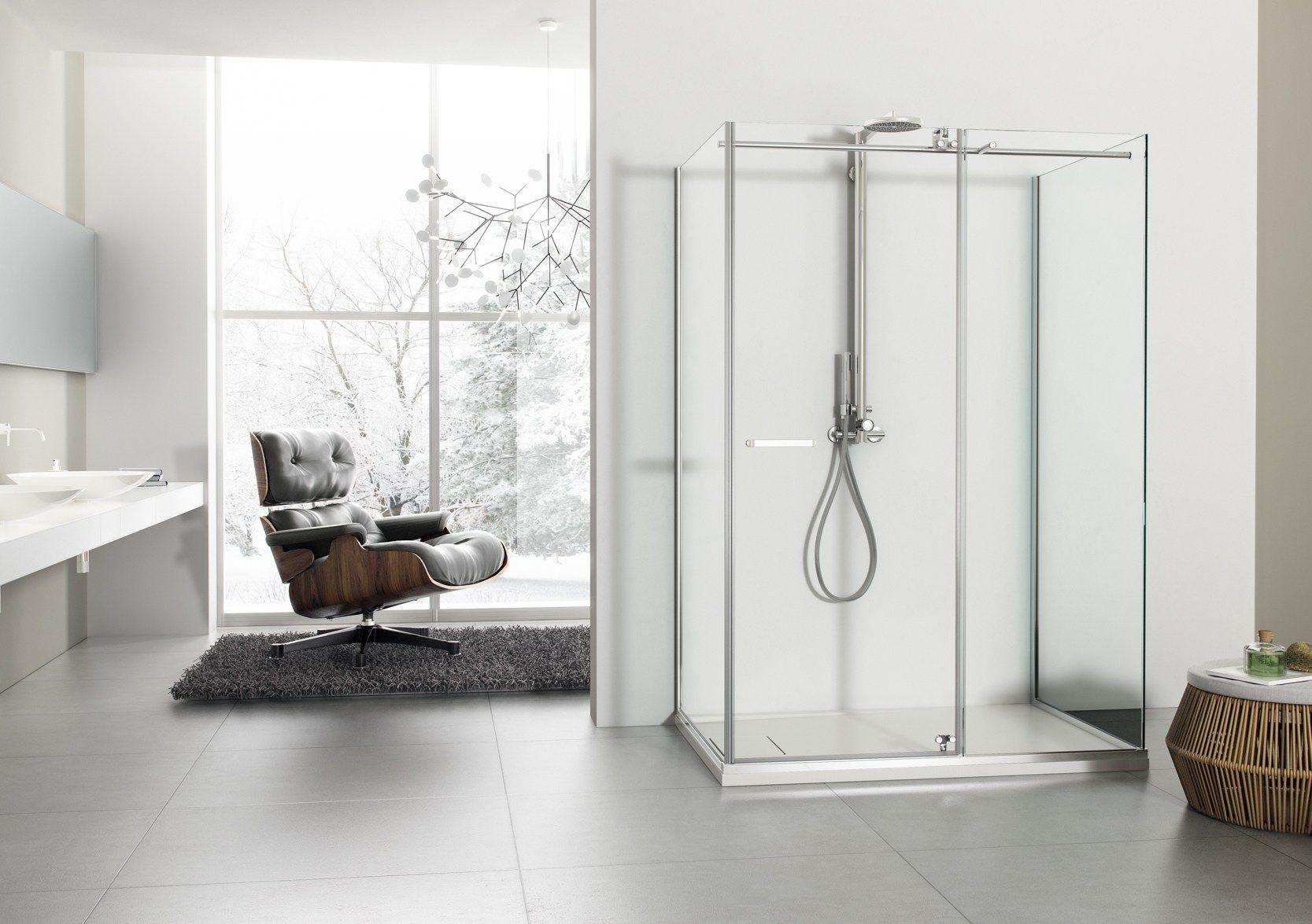 Box doccia a due posti con piatto collezione solodoccia by megius - Piatto doccia raso pavimento ...