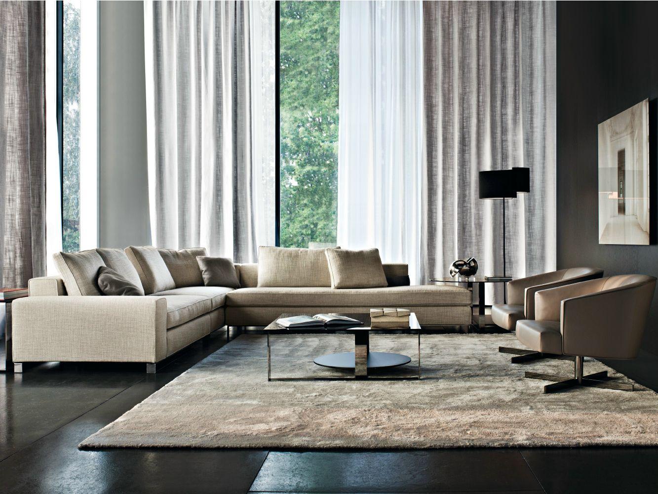 upholstered fabric sofa corner sofa williams series by minotti. Black Bedroom Furniture Sets. Home Design Ideas