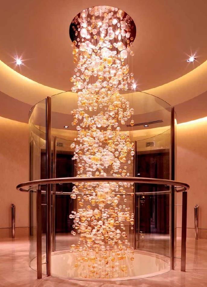 Indirect Light Blown Glass Chandelier Sun Pillar