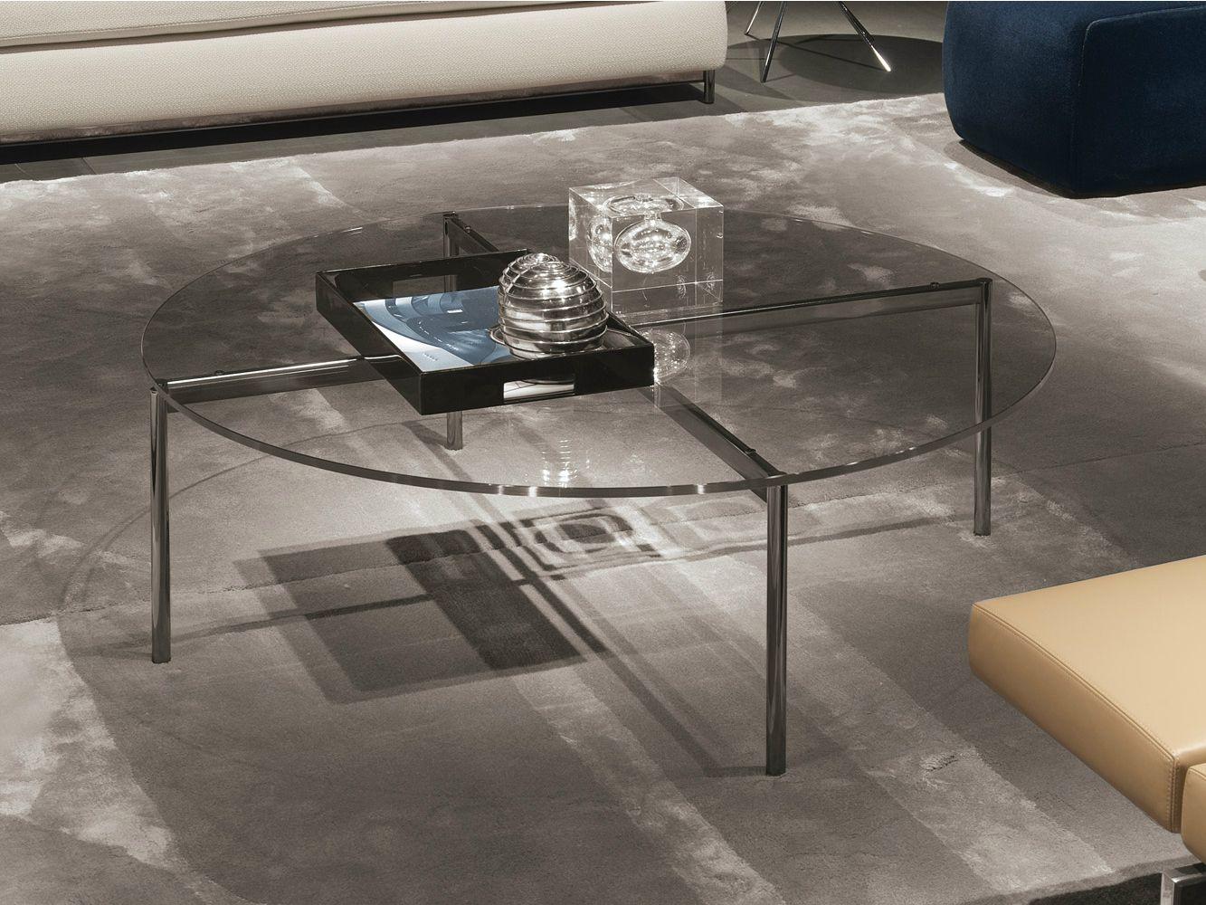Table basse ronde en m tal table basse en verre tremp - Table ronde verre trempe ...