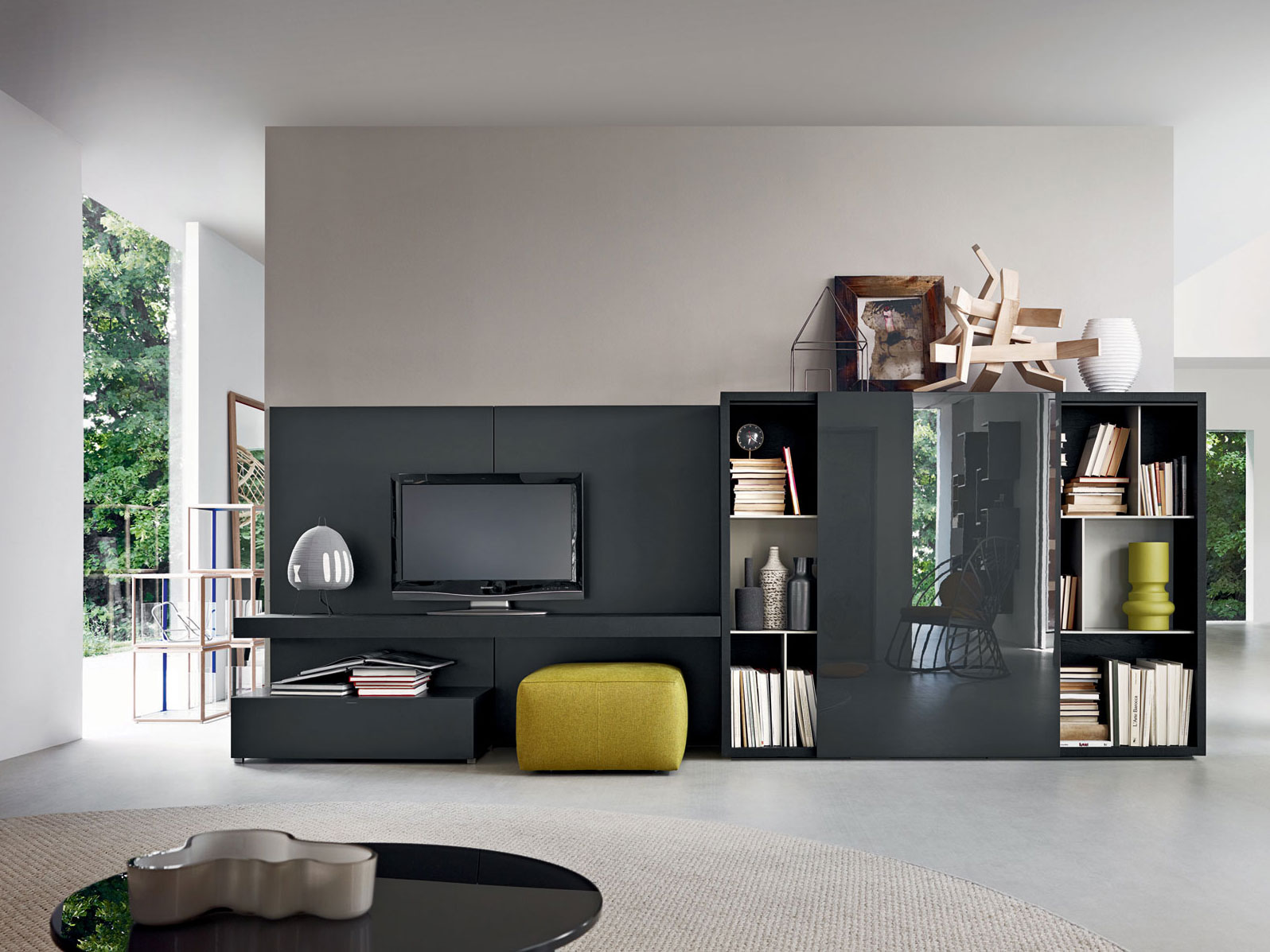 sectional tv wall system pass collection by molteni c. Black Bedroom Furniture Sets. Home Design Ideas