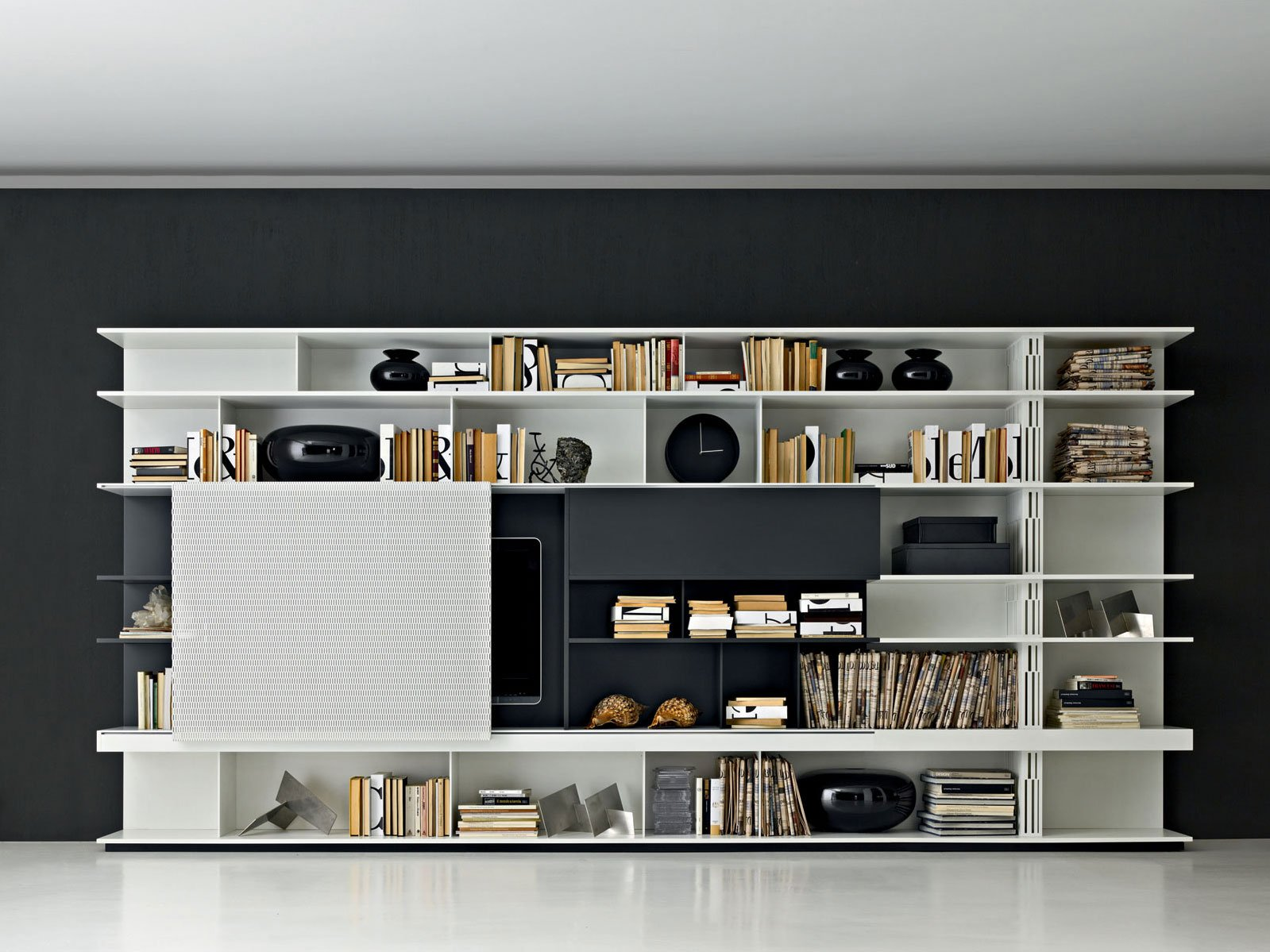 Bibliotheque television meilleures images d 39 inspiration for Grand meuble tv design