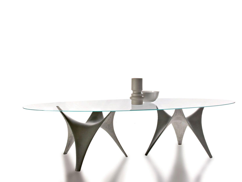 OVALER TISCH AUS GLAS ARC BY MOLTENI & C  DESIGN FOSTER