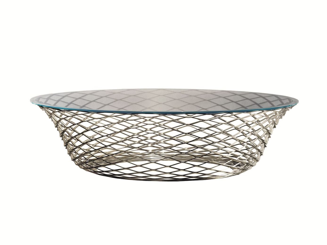 table basse ronde en acier inoxydable et verre teso by. Black Bedroom Furniture Sets. Home Design Ideas